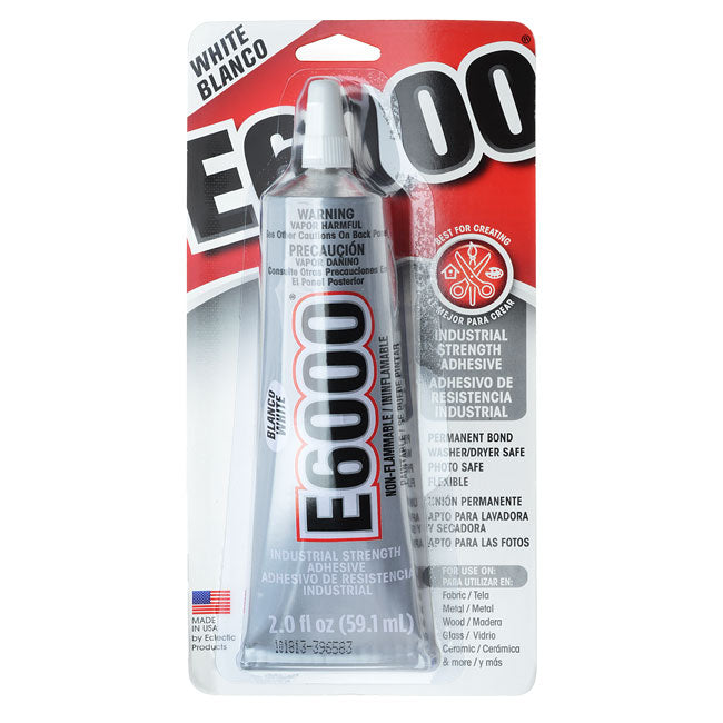 E6000 Adhesive, Industrial Strength Glue, 2 Ounce Tube, White