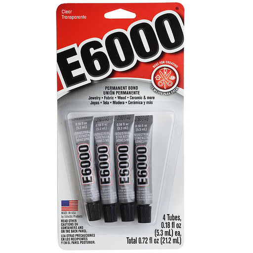 E6000 Industrial Strength Glue Adhesive - Pack Of Four 0.18 Ounce Tubes