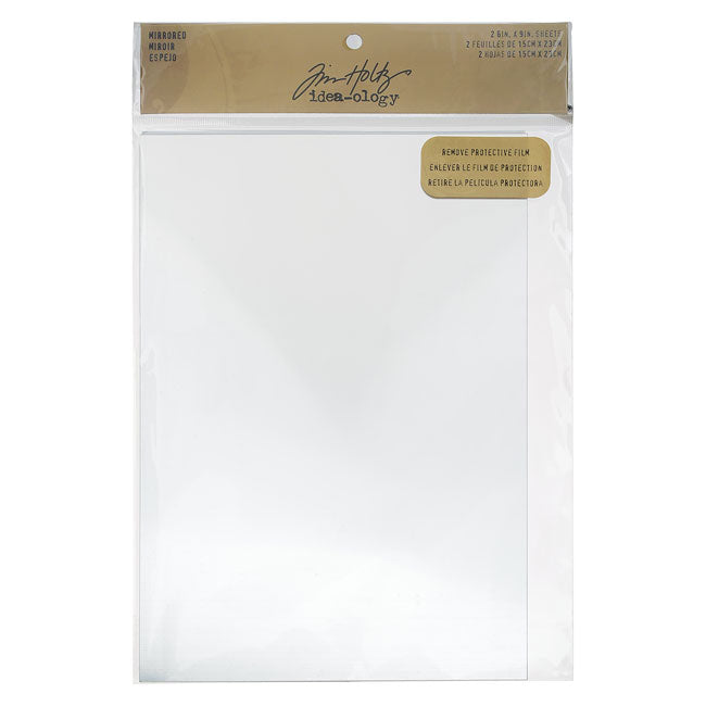 Tim Holtz Idea-ology, Mirrored Sheets with Adhesive Back 9x6 Inches, 2 Sheets