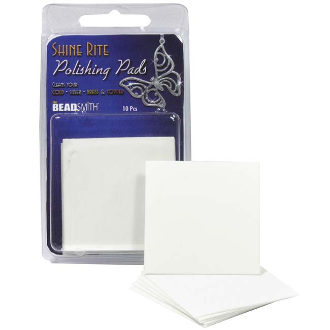 The Beadsmith Shine Rite Jewelry Polishing Pads 2 x 2 Inches (10 Pads)