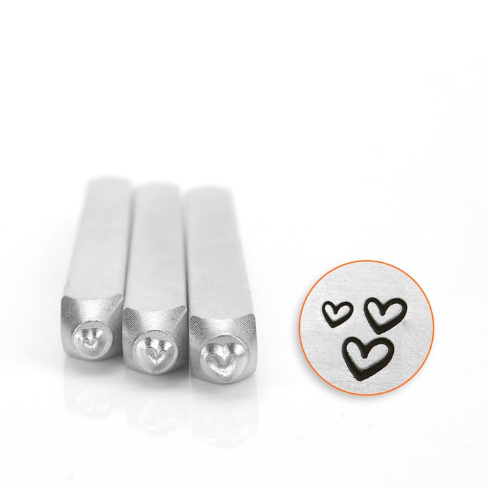 ImpressArt Metal Punch Stamp Set, Assorted Hearts 1.5 / 2 / 3mm Sizes, 3 Pieces, Steel