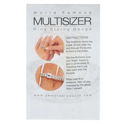 Multisizer Ring Sizing Gauge, Measures US Sizes 1-17, White with Black Lettering
