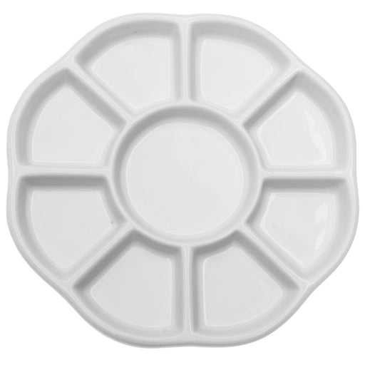 Ceramic Bead Sorting Tray, Round 5 1/2 Inch Diameter with Nine Sections, 1 Tray, White