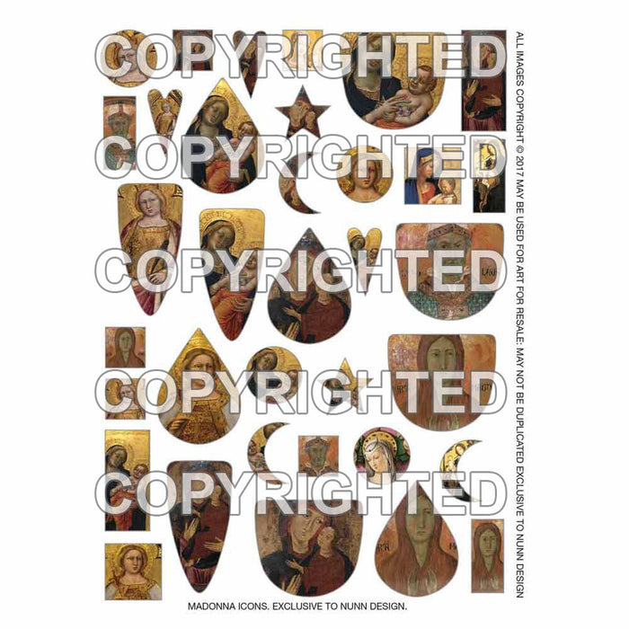 Nunn Design Collage Sheet, Assorted Madonna Icons, 1/2 Sheet, Assorted Colors