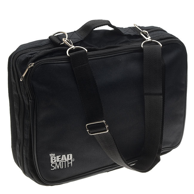"The Beadsmith Crafter's Tote Bag, with 2 Removable Pockets and 23 Compartments 12""x10"", Black"