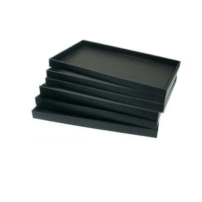 6 Black Faux Leather Jewelry Display Trays Showcase Displays
