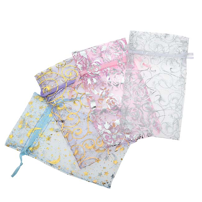 Assorted Silver & Gold Design Organza Drawstring Gift Bags 3 x 4 Inch (12 Bags)