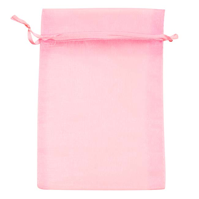 Light Pink Organza Drawstring Gift Bags 4 x 6 Inch (12 Bags)