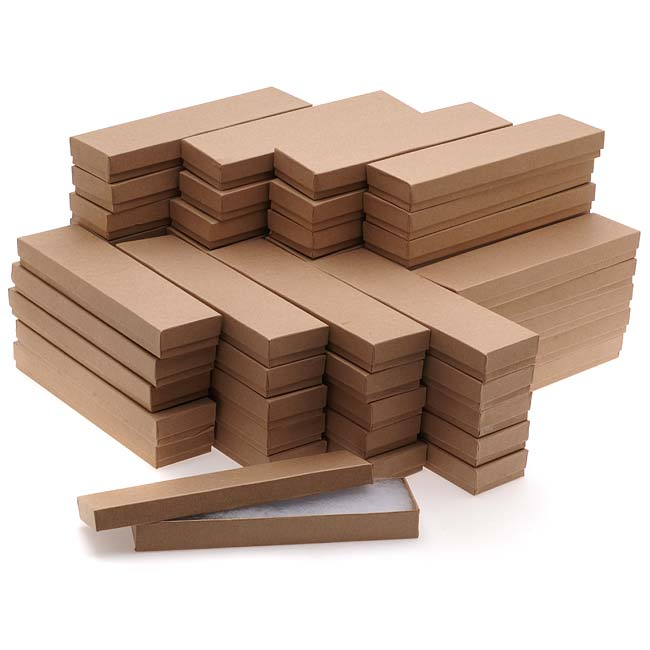 Kraft Brown Cardboard Jewelry Boxes 8 x 2 x 1 Inches (100)