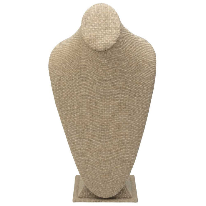 Necklace Bust Jewelry Display, 15.25 x 8 x 5.125, 1 Piece, Natural Linen