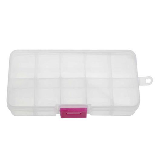 "Plastic Bead Storage Case, Rectangle with Compartments 5 1/4"", 2 Pieces, Clear and Pink"
