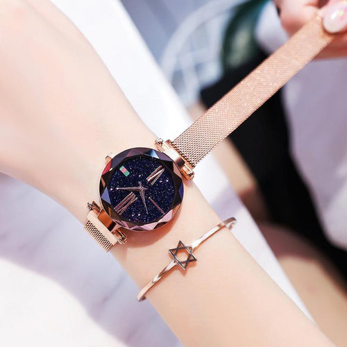 Women  Starry Sky Dial Wrist Watches Waterproof