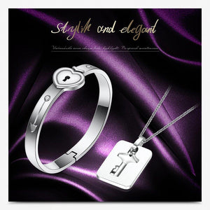 Love Locked Heart & Key Couples Set