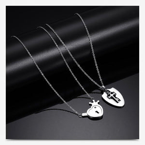 Love Locked Heart & Key Couples Set (x2 Necklaces)