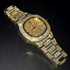 LUXURY WATCH WATERPROOF QUARTZ BUSINESS DIAMOND ICED OUT WATCH