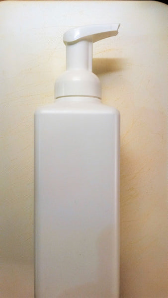600ml Square Plastic Foam Pump Bottle - White bottle with white aerator cap