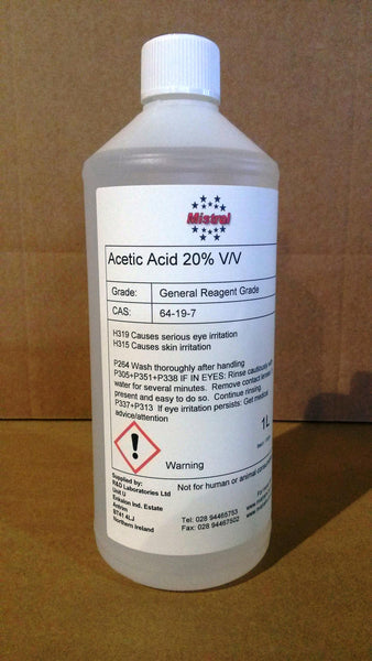 Acetic Acid 20% v/v - Ethanoic acid - White Vinegar