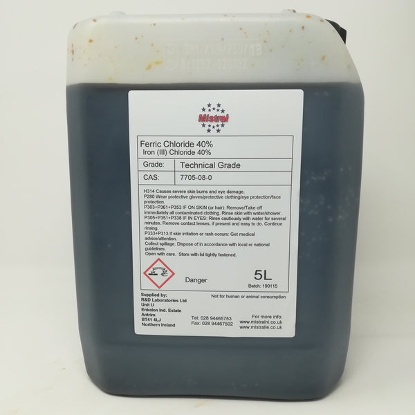 Ferric Chloride solution 40% (40-45 Baume) - Etchant, Coagulant, Flocculant