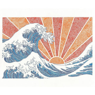 Art Print - Off California (Red/Orange)-Art Print-Viz Art Ink