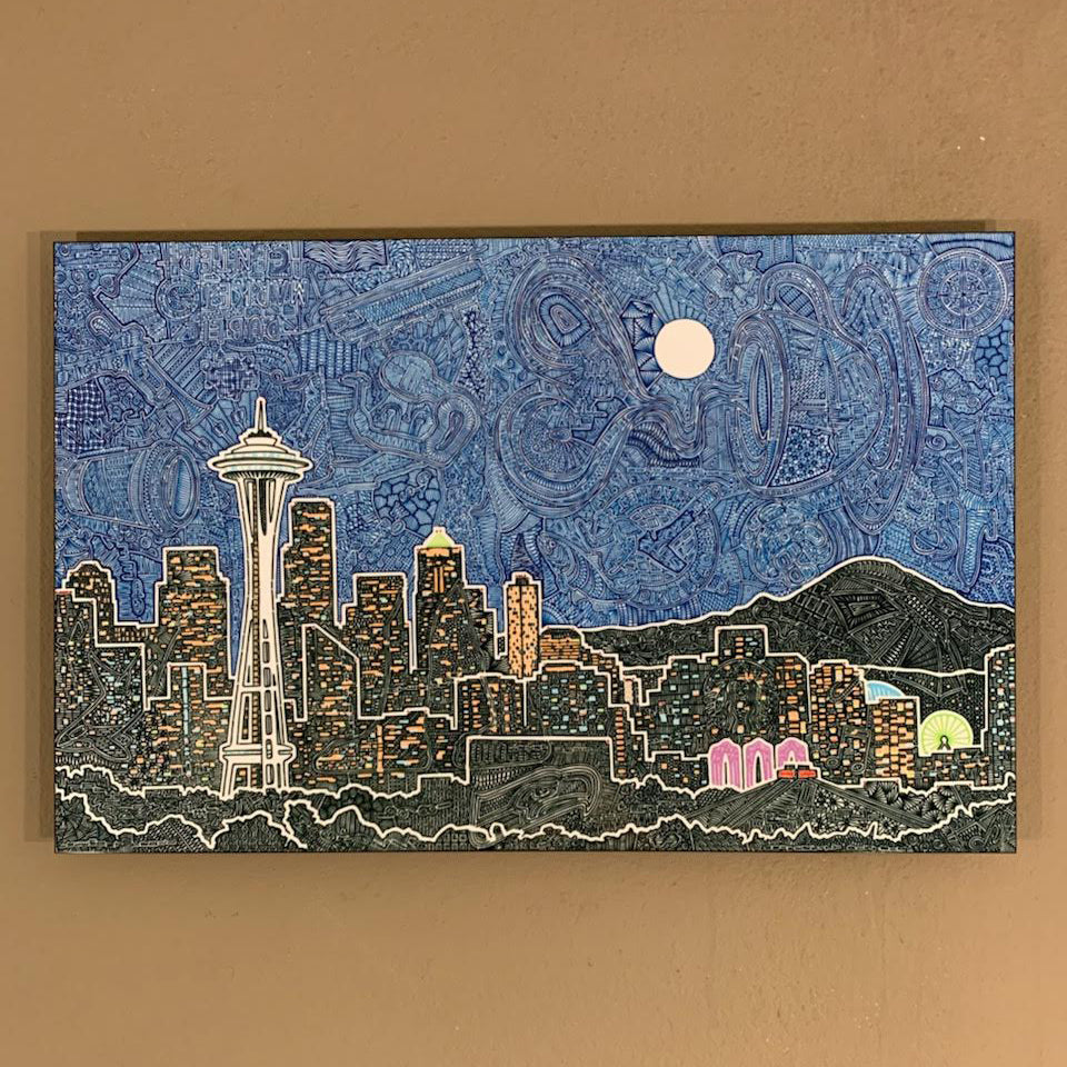 Metal Print - Seattle's Night