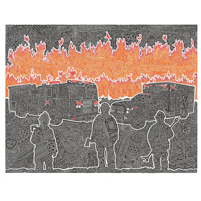 Art Print - A Blazing-Art Print-Viz Art Ink