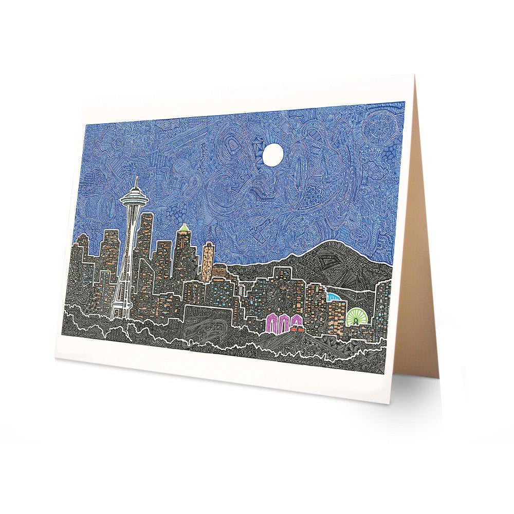 Greeting Card - Seattle's Night-Greeting Cards-Viz Art Ink
