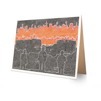 Greeting Card - A Blazing-Greeting Cards-Viz Art Ink