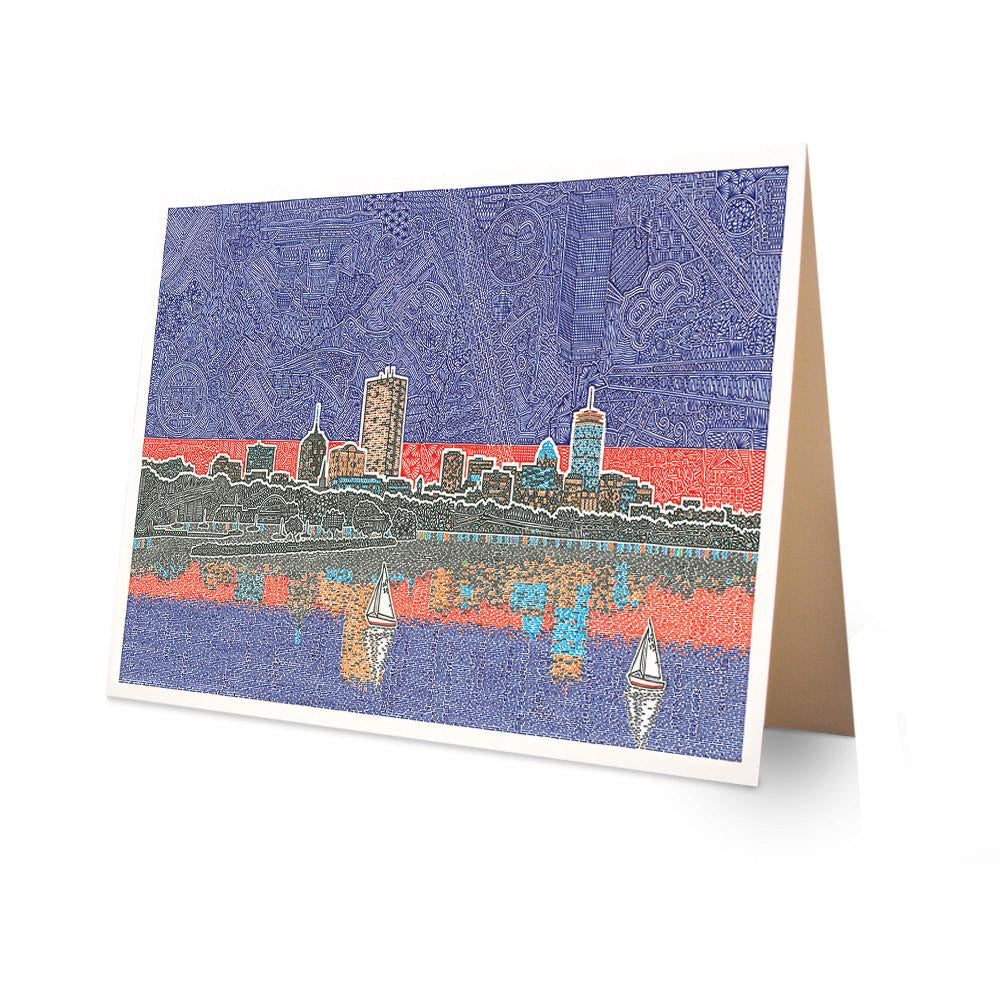 Greeting Card - Back Bay in Boston-Greeting Cards-Viz Art Ink