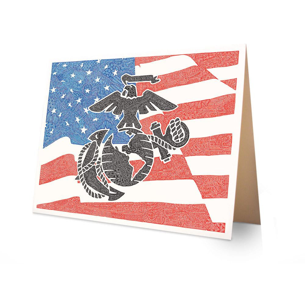 Greeting Card - Marines - Red, White & Blue-Greeting Cards-Viz Art Ink