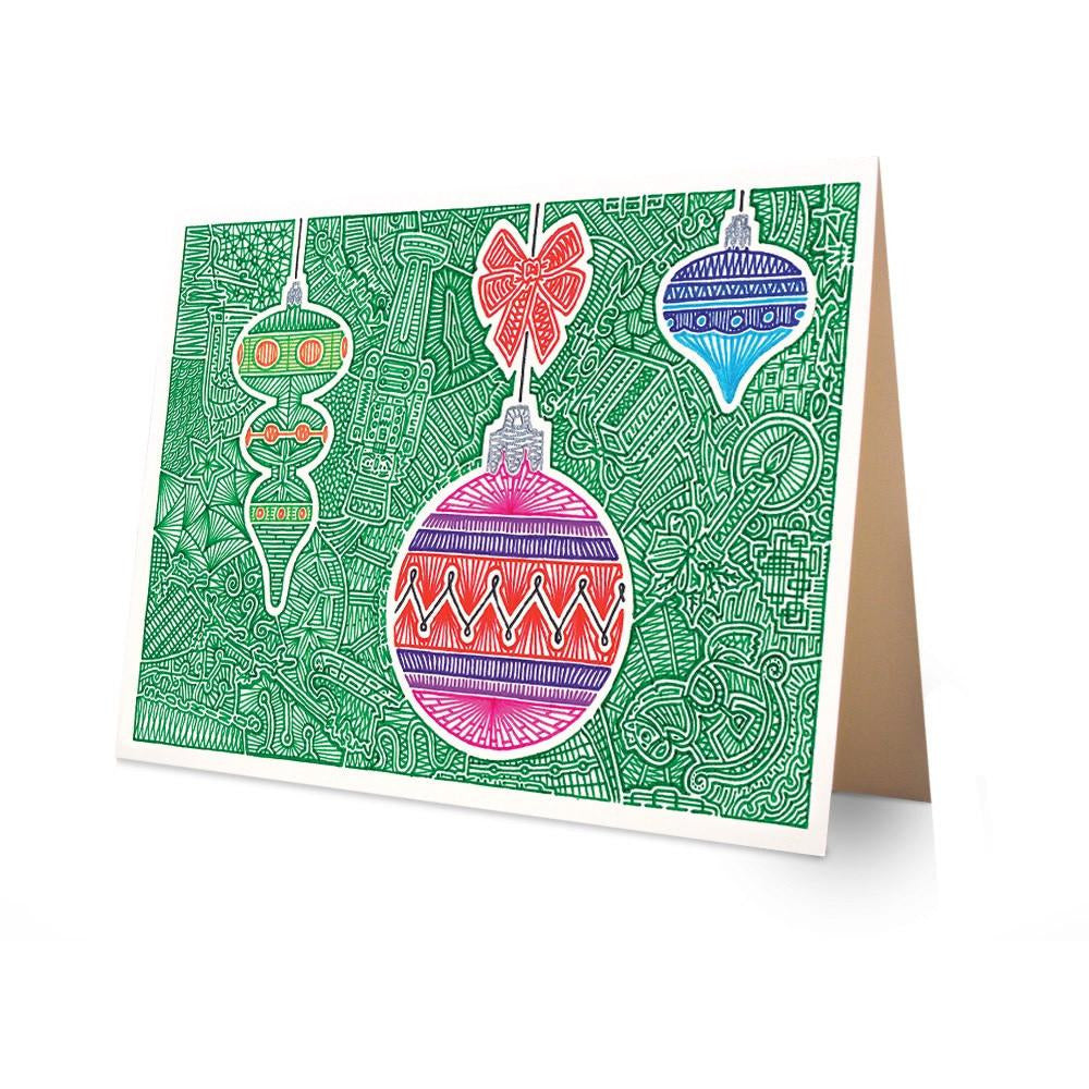 Greeting Card - Christmas Ornaments-Greeting Cards-Viz Art Ink