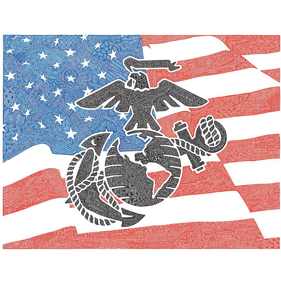 Art Print - Marines - Red, White & Blue-Art Print-Viz Art Ink