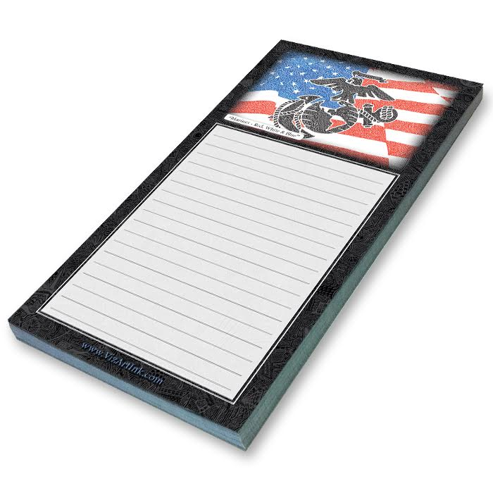 Notepad - Marines - Red, White & Blue-Notepad-Viz Art Ink