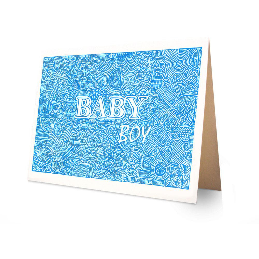 Greeting Card - Baby Boy-Greeting Cards-Viz Art Ink