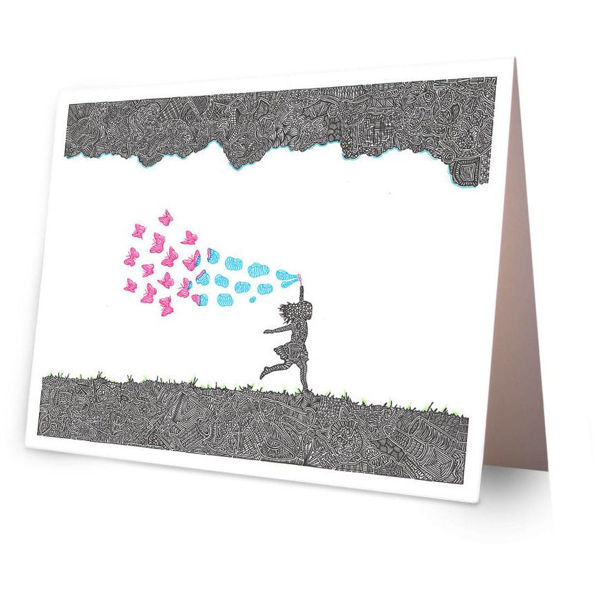 Greeting Card - Butterfly Bubbles-Greeting Cards-Viz Art Ink