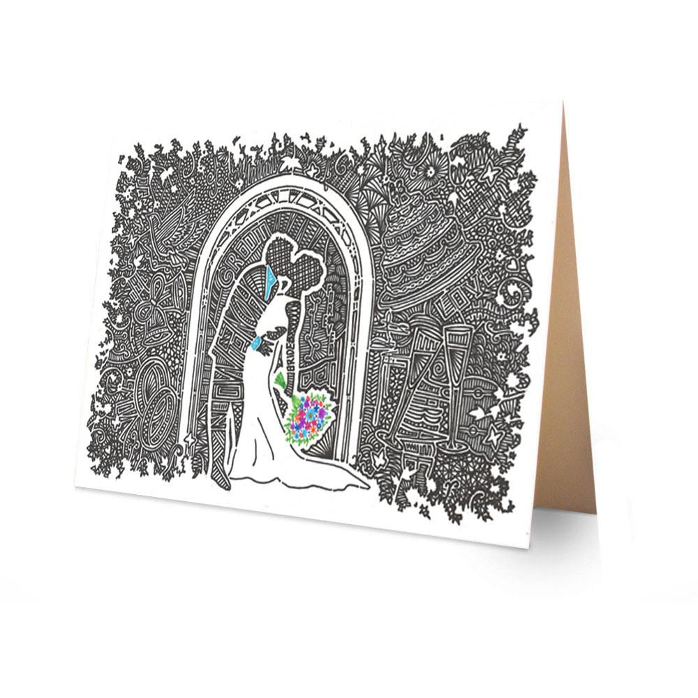 Greeting Card - Wedding Kiss-Greeting Cards-Viz Art Ink
