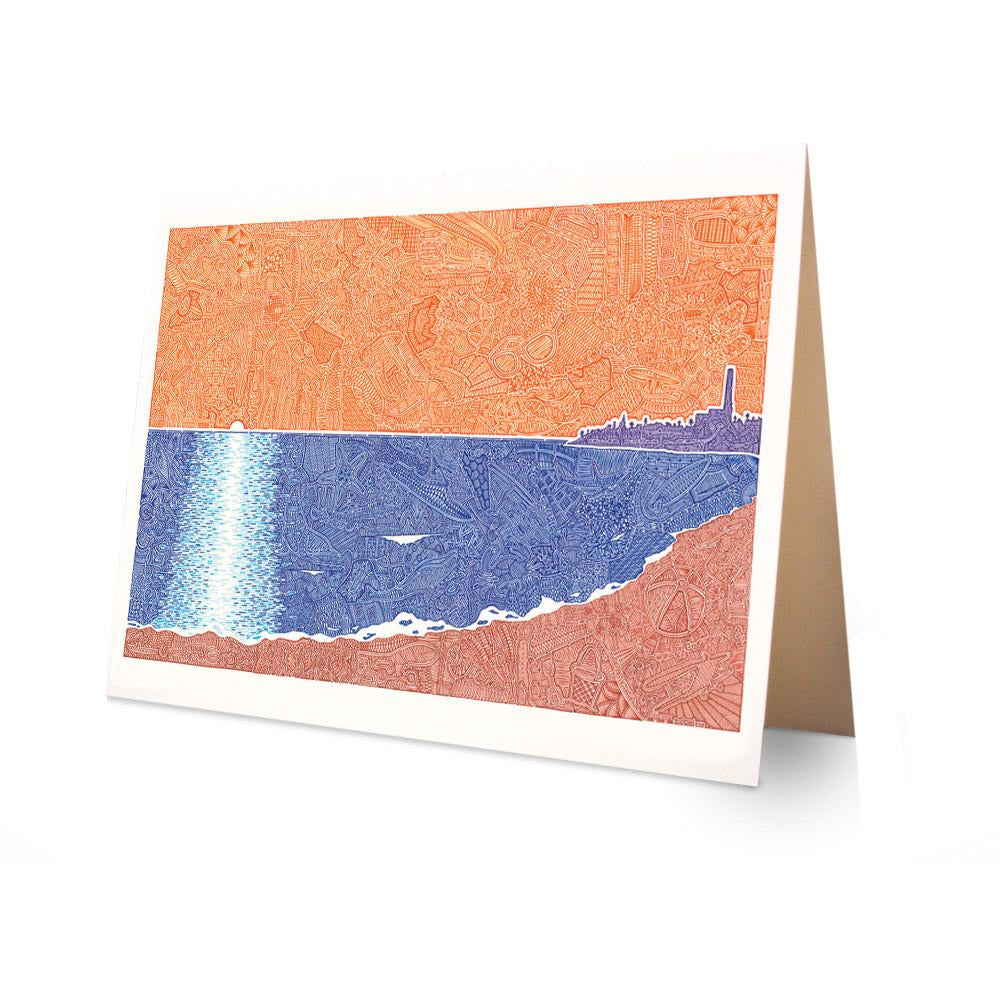 Greeting Card - Village by the Sea-Greeting Cards-Viz Art Ink