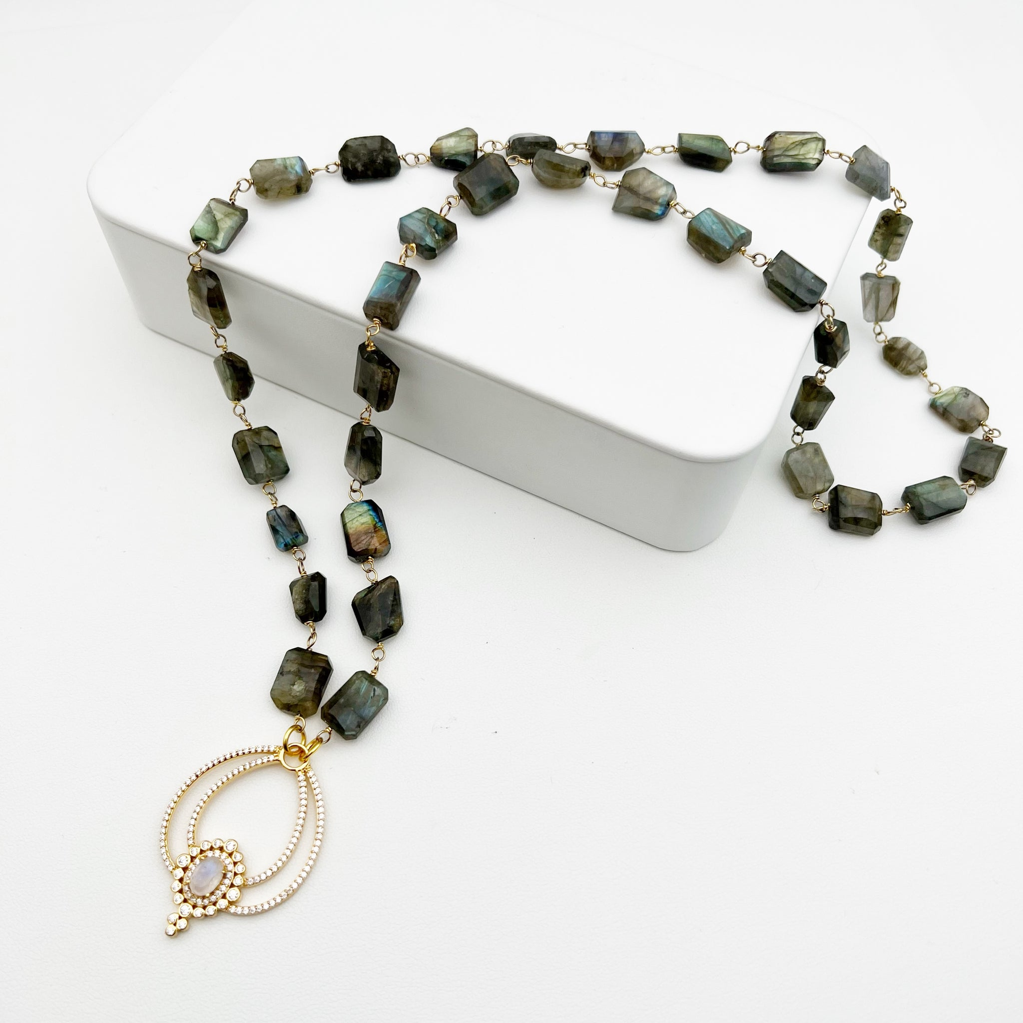 Mighty Moonstone Flower Pendant