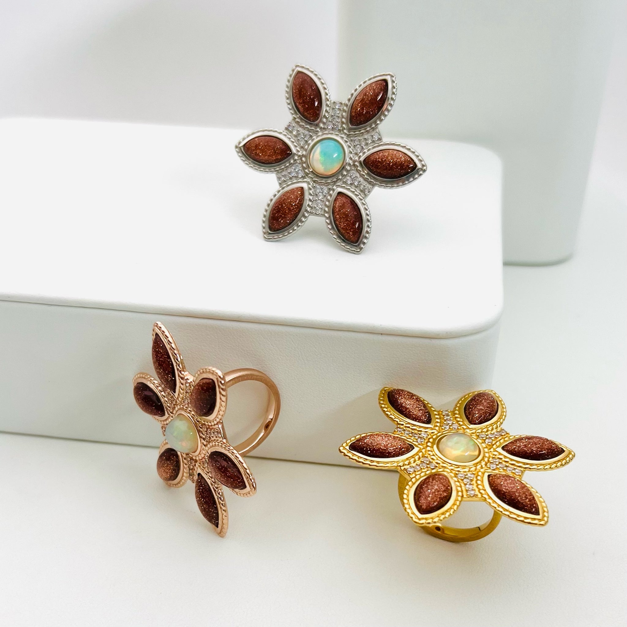 Diamond and Heart Shaped Moonstone Cabochon Necklace