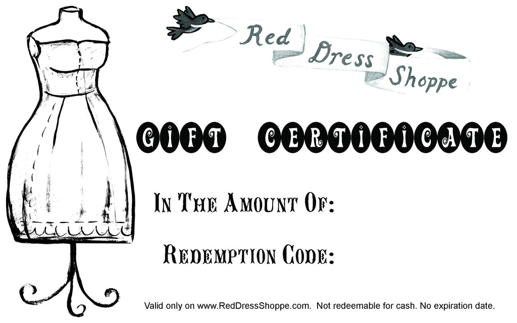 Red Dress Shoppe Gift Certificate