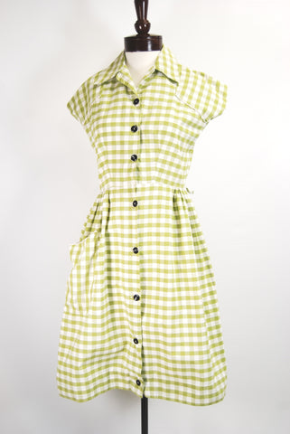 1950's Green Gingham Day Dress