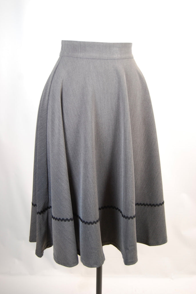 Grey High Waist Swing Skirt