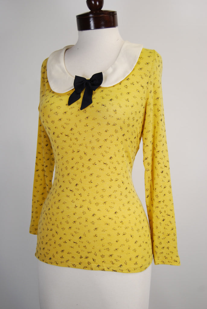 Peter Pan Collar Vintage Style Blouse in Mustard Yellow