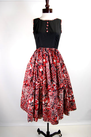 Vintage 1950's Red Floral Swing Dress