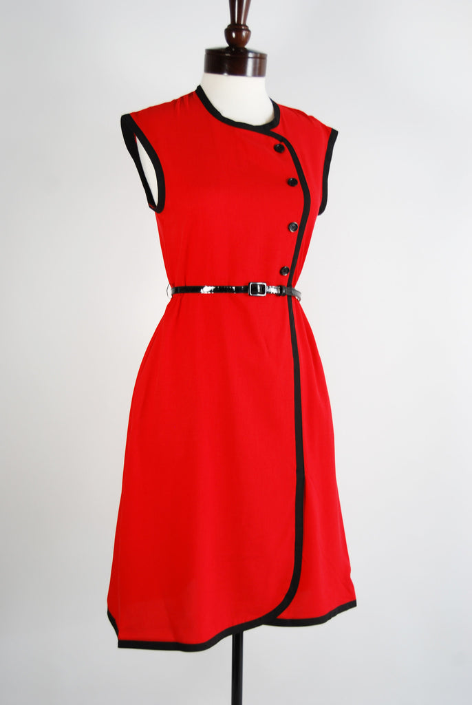 Steady Red Dress Reto Style Clothing
