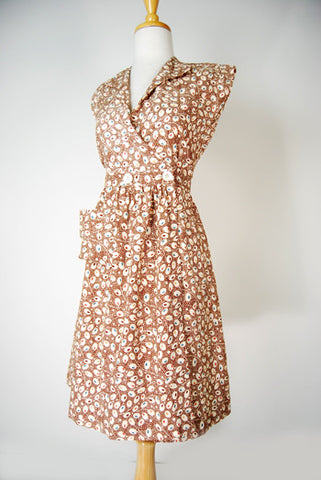 The Miss Sadie Cotton Day Dress - Brown Olives