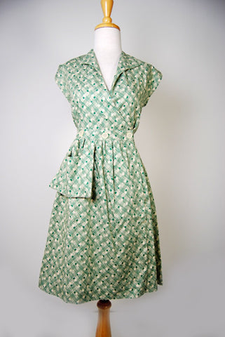 The Miss Sadie Cotton Day Dress - Green Weave
