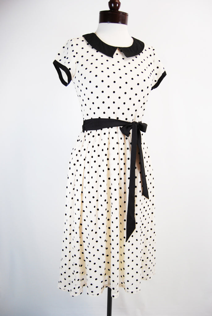 Downeast Basics Cute Polka Dot Dress with Peter Pan Collar