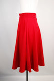 Red High Waist Swing Skirt