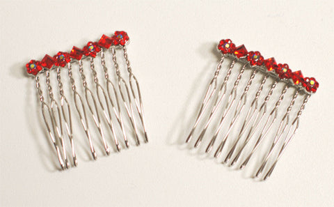 Red Rhinestone Hair Combs (2)