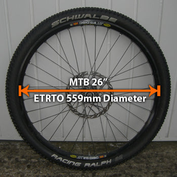 "MTB 26"" diameter wheels with ETRTO"